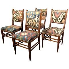 Set of Kilim Covered Mahogany Chairs, Sweden, circa 1900