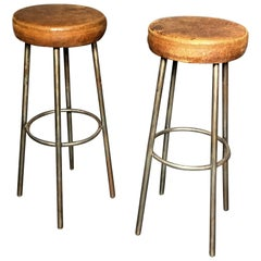 Pair of Tubular Chrome and Cognac Leather Bar Stools