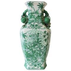 Tall Chinese Green and White Ceramic Vase