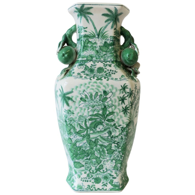 Tall Chinese Green And White Ceramic Vase For Sale At 1stdibs