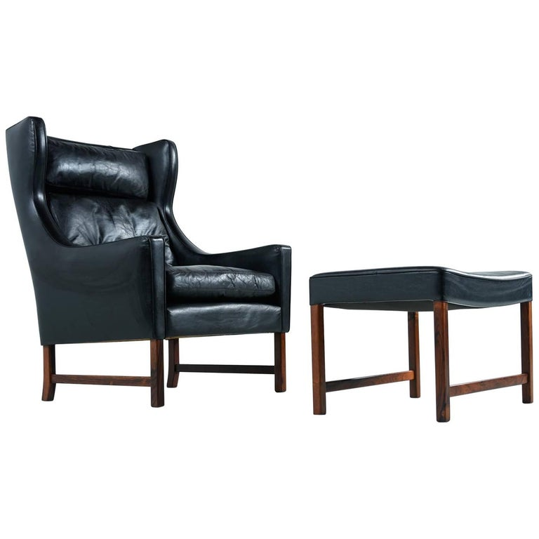 Børge Mogensen Style Black Leather & Rosewood Wingback Lounge Chair & Ottoman
