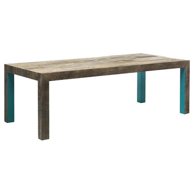 Large Zio Tom Dining Table with Teal Detail by Claudio Bitetti & Mogg