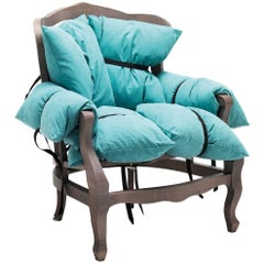 7 Pillows Armchair in Turquoise by Marcantonio & Mogg