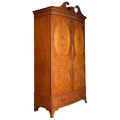Satinwood Bow Fronted Two-Door Wardrobe