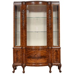 Chippendale Revival Mahogany Bow Fronted Display Cabinet