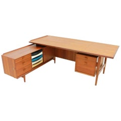 Arne Vodder Teak Writing Desk with Sideboard Sibast Denmark 1960 Table.