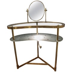 Midcentury Italian Dressing Table by Gio Ponti, Glass and Gilded Brass