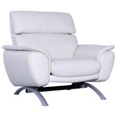 Willi Schillig Leather Armchair Off-White One Seater