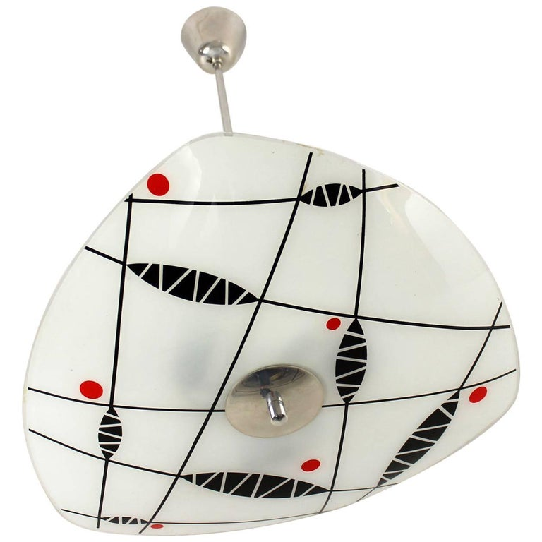Red Midcentury Ceiling Light By Napako Czechoslovakia