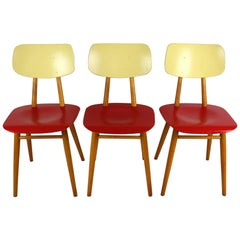 Vintage Red and Cream Chairs from TON, 1960s, Set of Three