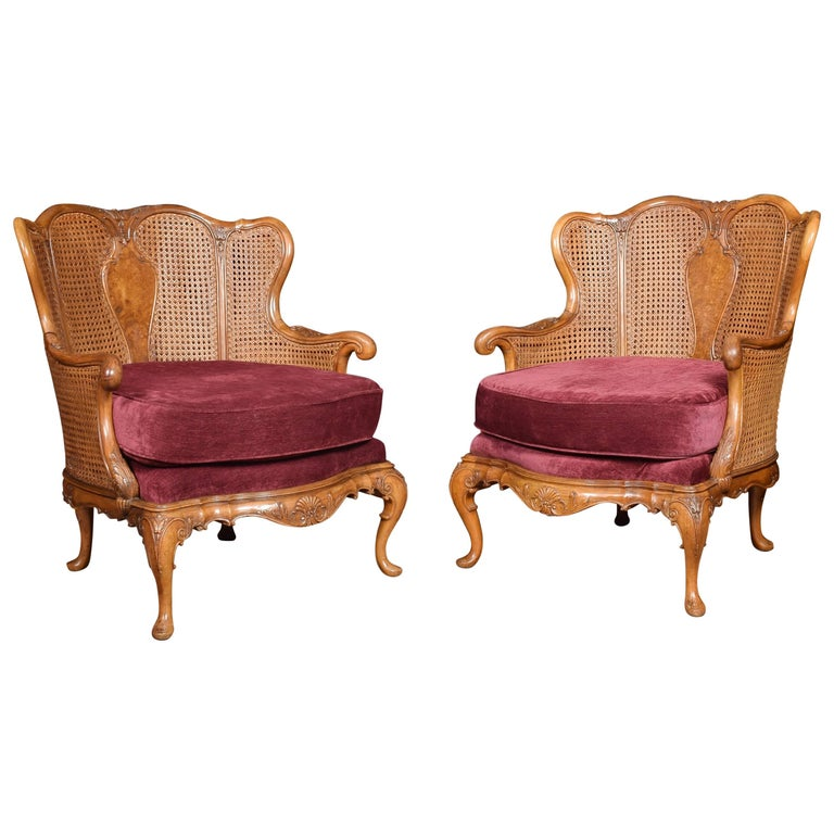 Pair of Rococo Design Walnut Bergere Armchairs