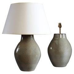 Pair of Art Pottery Lamps with Duck Egg Glaze