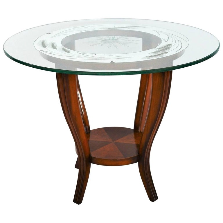 Italian Art Deco Side Table with Mirrored Glass Top, 1930s