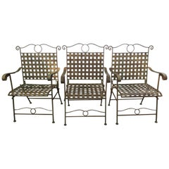 Set of Three Handsome Vintage Iron Armchairs