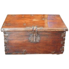Antique Colonial Trunk with Iron Lock Plate