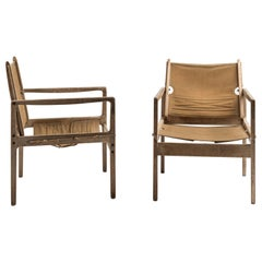 Pair of Safari Chairs by Ole Wanscher for Poul Jeppesen Møbelfabrik