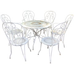 Charming Vintage French Bistro Dining Table and Chairs