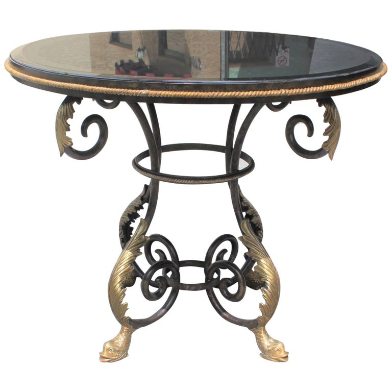 Tall Neoclassical Iron Center Table Eglomise Mirror Top Dolphins Feet