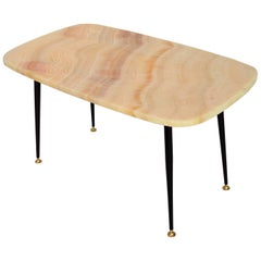 Italian Coffee Table or Side Table with Pink Marble Top, 1950s