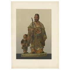 Antique Print of Japanese Terracotta by G. Audsley, 1884