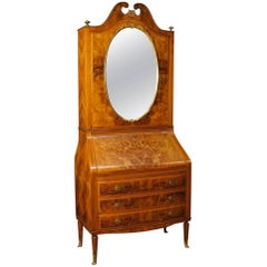 Italian Trumeau in Walnut and Burl Walnut with Mirror from 20th Century