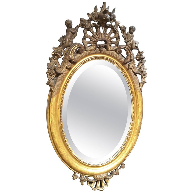French Gilt Cherub Oval Bevelled Mirror, 19th Century