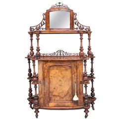 19th Century Burr Walnut Whatnot Cabinet