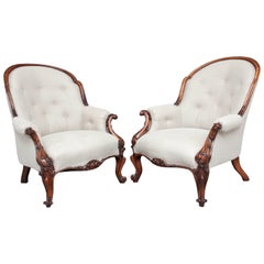 Pair of 19th Century Ladies and Gentleman's Walnut Armchairs