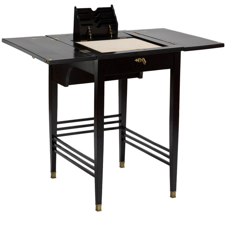 Antique Black Lacquered Art Nouveau Writing Desk and Table from Vienna For  Sale - Antique Black Lacquered Art Nouveau Writing Desk And Table From