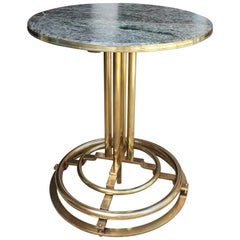 1970s Spanish Gilded Brass Side Table with Green Serpentine Marble Top