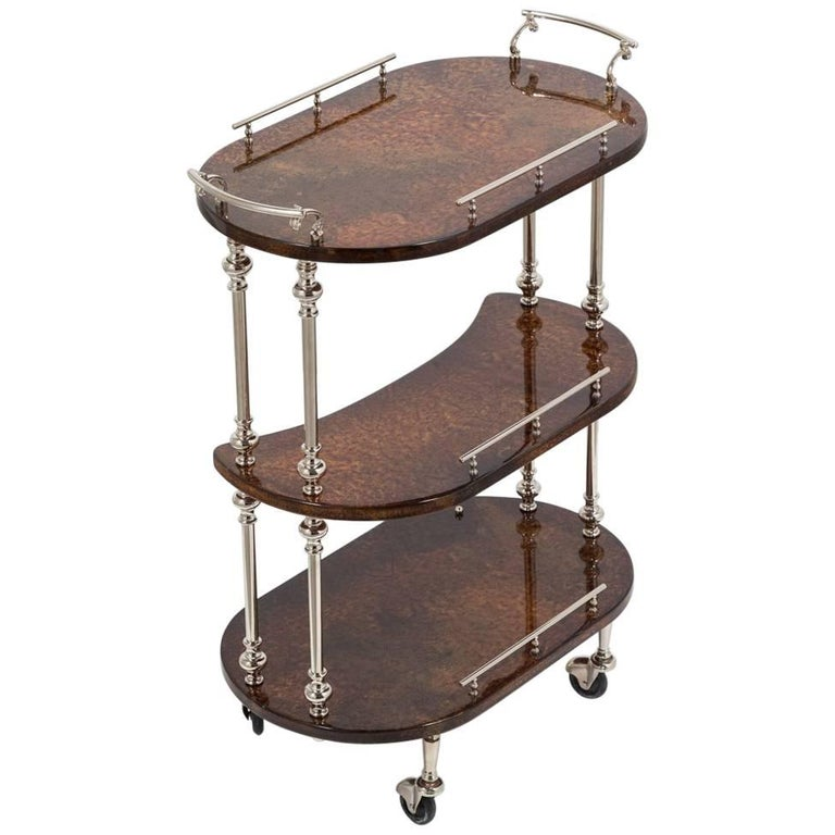 Three-Tiered Bar Cart by Aldo Tura, 1950s