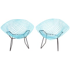 1990s Harry Bertoia Reproduction Metal Pair of Chairs, Diamond Model in Blue