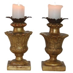 Couple of Late 18th Century Italian Giltwood Neoclassical Candlesticks