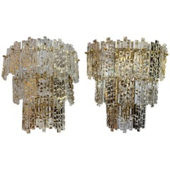 1970s Pair of Spanish Gilded Brass Wall Lamps with Beveled Crystal