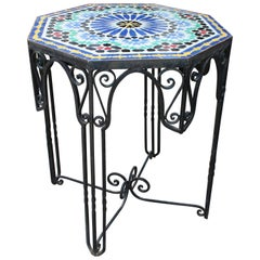1950s Octagonal Glazed Ceramic Andalusian Mosaic Table on a Wrought Iron Base