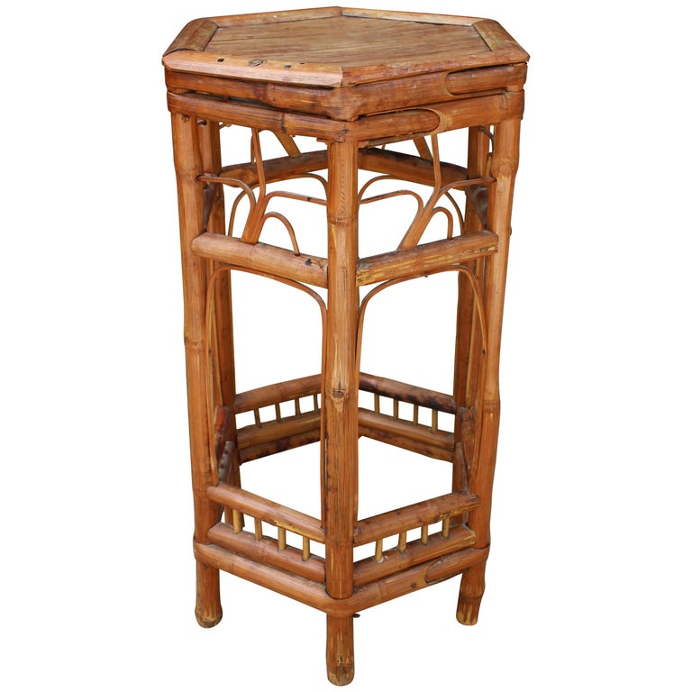 19th Century Chinese Octagonal Bamboo Auxiliary Table