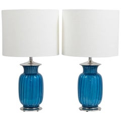 Stunning Pair of Blue Glass and Nickel Plated Table Lamps, 1960s