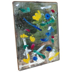 1970s Abstract Decorated Bevelled Mirror