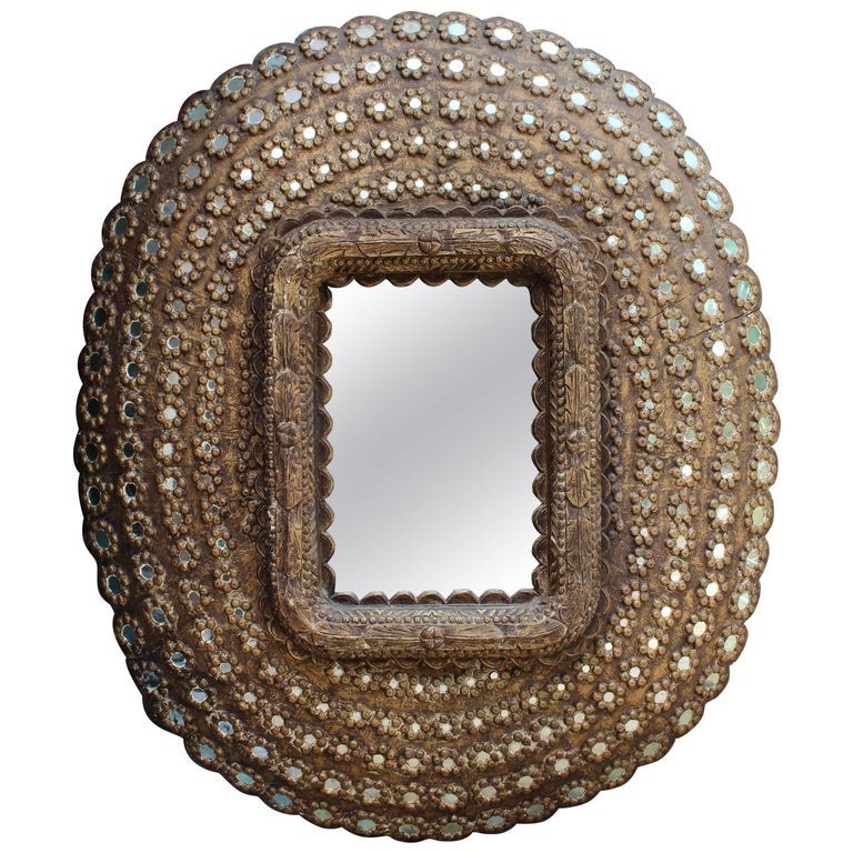 Indian Mirror and Hand-Carved Wooden Inlayed Frame