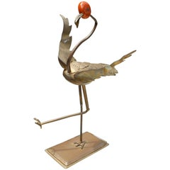 1970s Brass Heron with Red Jade Head