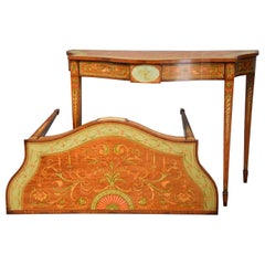 Pair of Sheraton Revival Satinwood and Painted Serpentine Shaped Console Tables