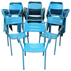 1980s Set of 32 Spanish Made Iron Blue Chairs