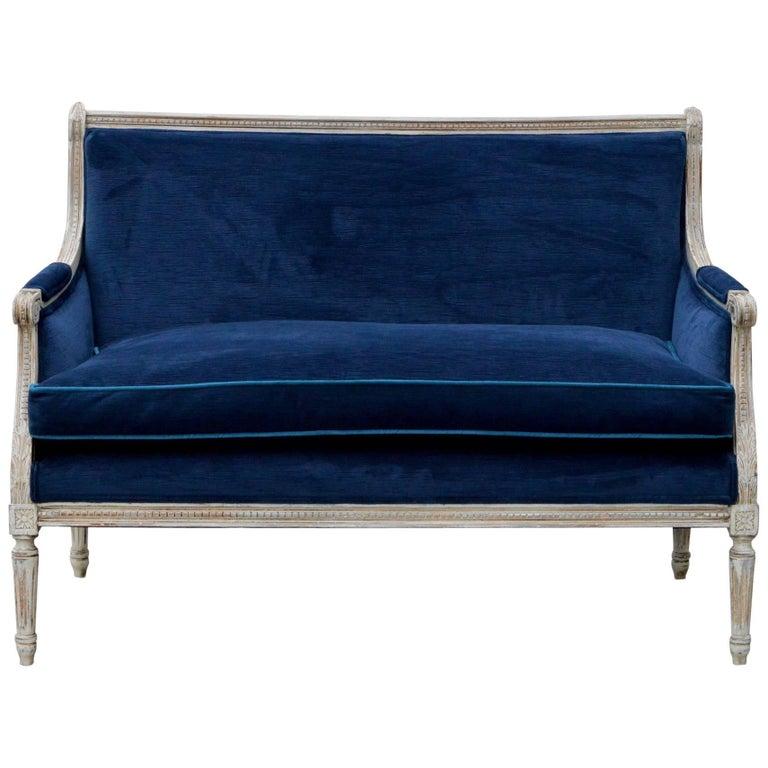 Louis XVI Style Settee in Coastal Chic Blue Velvet