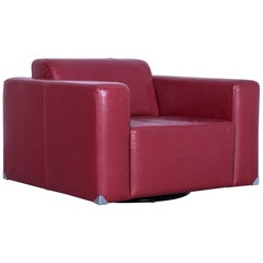 Ewald Schillig Leather Armchair Red One Seater