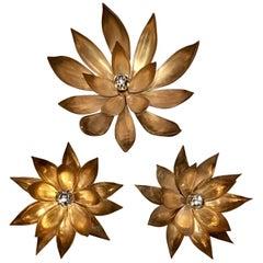 Three Heavy Brass Flower Wall Lights in Hollywood Regency Style
