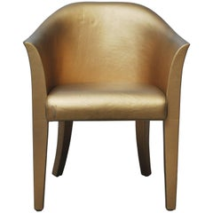 Karl Springer Gold Leather Armchair