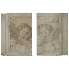Couple of Italian 18th Century Baroque Marble Angel Panels