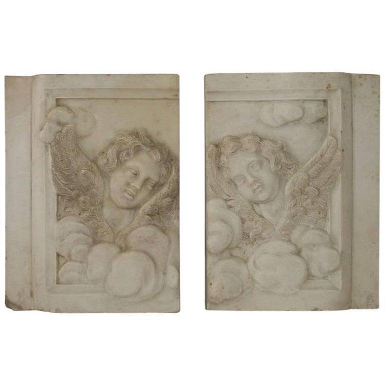 Couple of Italian 18th Century Baroque Marble Angel Panels