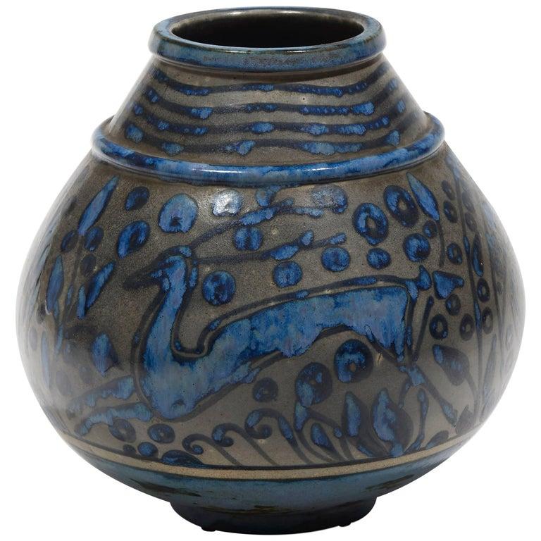 Ovoid Vase with Antelope Decor by Primavera, circa 1930