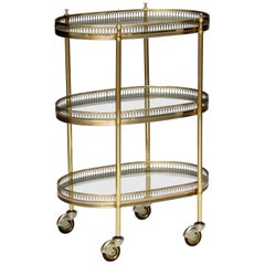 French 1950s Brass and Glass Trolley